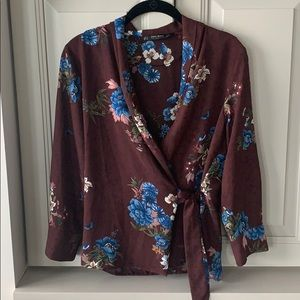 Zara Red and Blue Floral Wrap Blouse